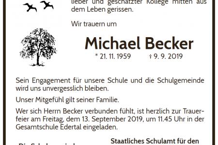 Die Schulgemeinde trauert um Michael Becker