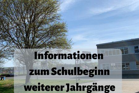Informationen zum Schulbeginn weiterer Jahrgänge