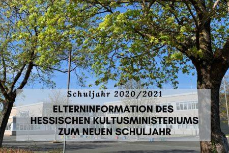 Elterninformation des Hessischen Kultusministeriums zum neuen Schuljahr 2020/21