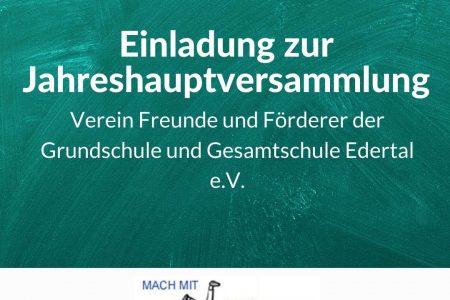 Einladung zur Jahreshauptversammlung des Fördervereins der Grund- und Gesamtschule Edertal